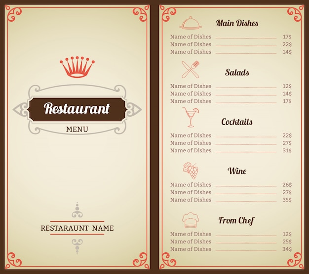 Ristorante elegante modello di menu