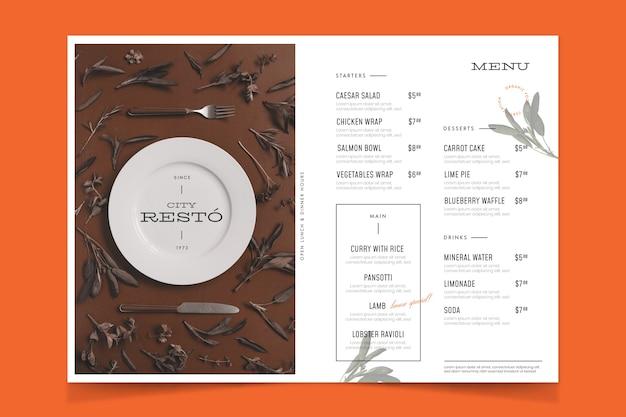 Ristorante in stile vintage con menu di cibo della città