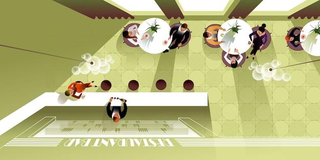 Ristorante interior design moderno vista dall'alto. mockup vettoriale per una landing page di layout