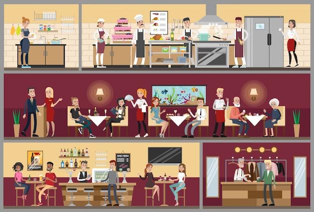 Ristorante interno impostato con persone sedute, cucina e bar.
