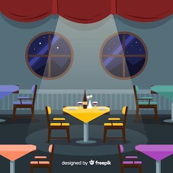 Ristorante interno romantico con design piatto