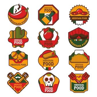 Ristorante messicano ristorante alimentare logo e badges collection