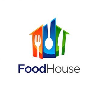 Ristorante, modello di logo di casa dell'alimento