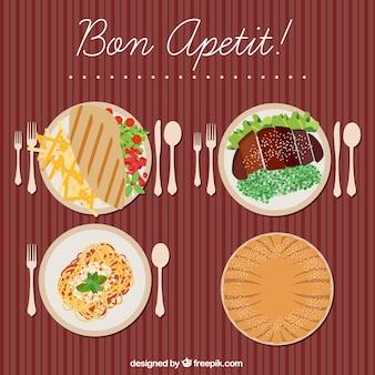 Ristorante piatti nutrienti in design piatto