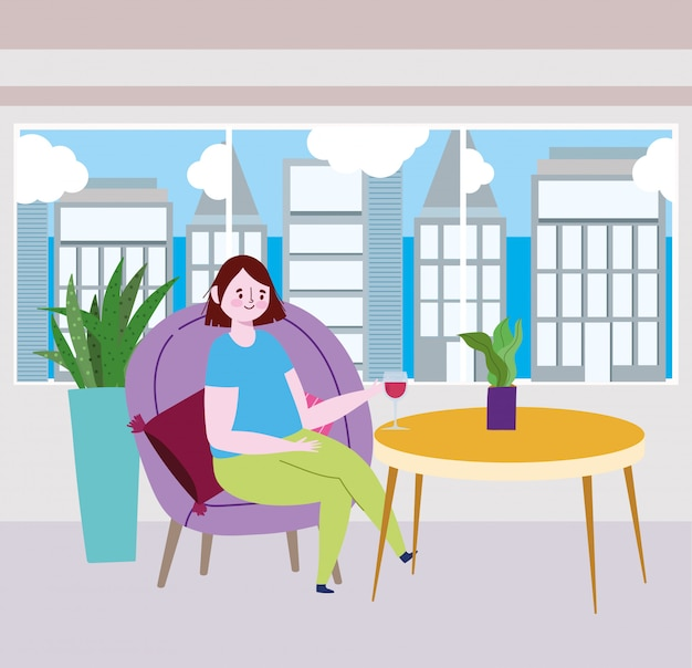 Ristorante sociale di distanza o bar, donna sola con bicchiere di vino a tavola
