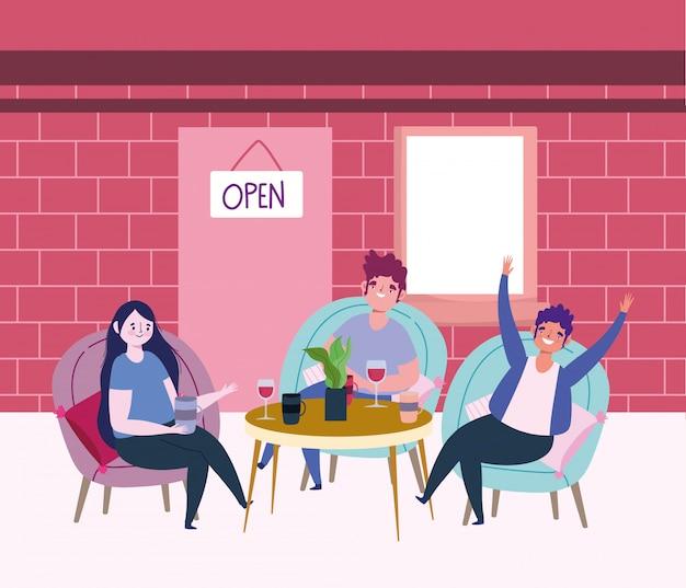 Ristorante sociale di distanza o bar, gente con bicchiere di vino e tazza di caffè in tavola