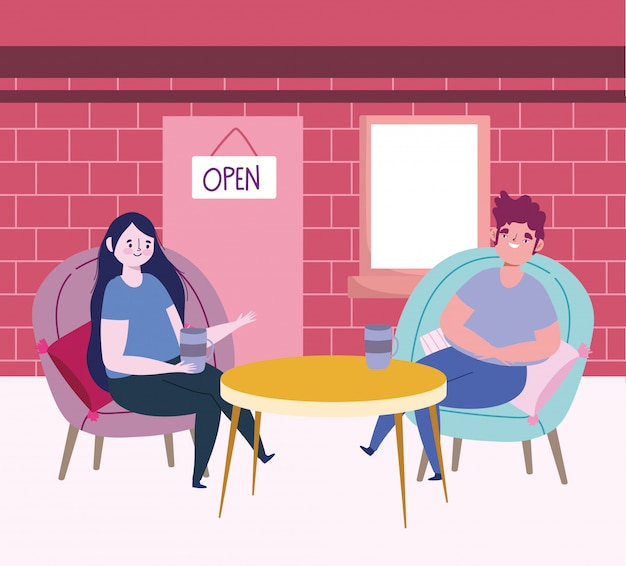 Ristorante sociale di distanza o un caffè, donna e uomo seduto con bicchiere di vino e caffè