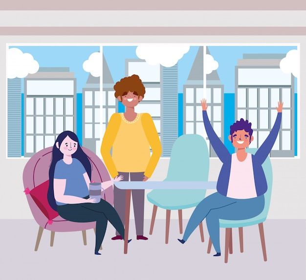 Ristorante sociale o bar, le persone felici mantengono le distanze al tavolo