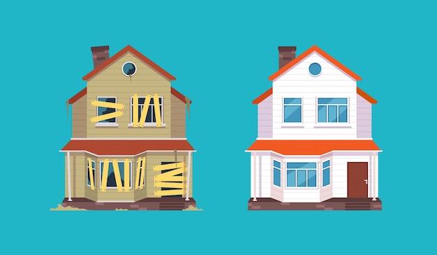Ristrutturazione casa. casa prima e dopo la riparazione. nuovo e vecchio cottage suburbano. illustrazione isolata
