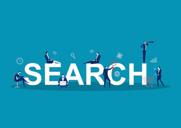 Risultati della ricerca illustrazione vettoriale. business online e tecnologia per visualizzare le pagine in risposta alle query del ricercatore. team stilizzato da pubblicizzare