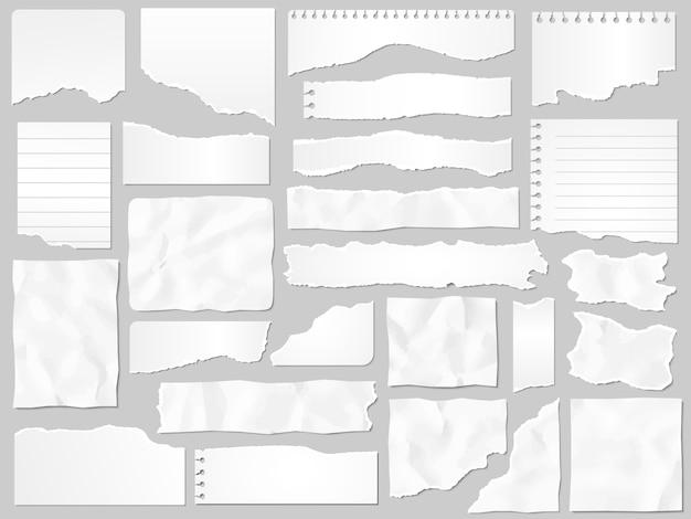 Ritagli di carta. documenti strappati, pezzi di pagina strappati e insieme dell'illustrazione del pezzo di carta per appunti dell'album