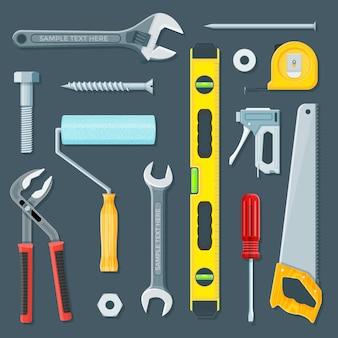 Ritocca l'insieme dell'illustrazione degli strumenti della costruzione