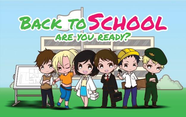 Ritorno a scuola., bambini in tuta da lavoro., concetto di lavoro.