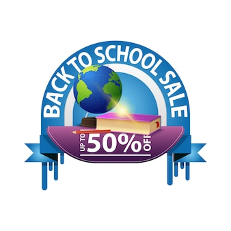 Ritorno a scuola, banner sconto rotondo per il tuo sito web con libri di testo di scuola e globo