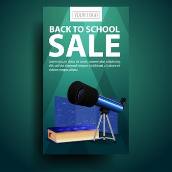 Ritorno a scuola, banner verticale moderno ed elegante per il tuo business con il telescopio