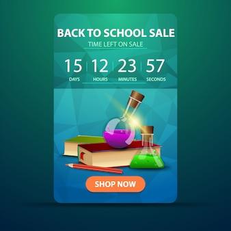 Ritorno a scuola, banner web con conto alla rovescia fino alla fine della vendita con libri e boccette chimiche