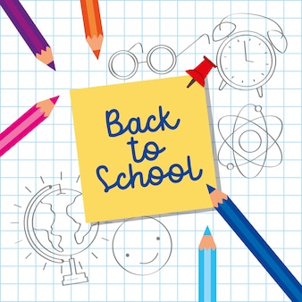 Ritorno a scuola carta con cartoni animati