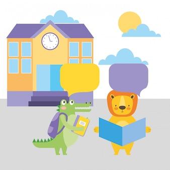 Ritorno a scuola cartoni animati di animali carini
