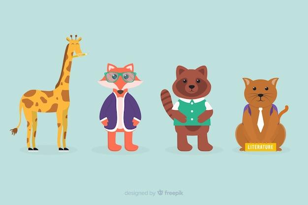 Ritorno a scuola celebrazione collezione di animali