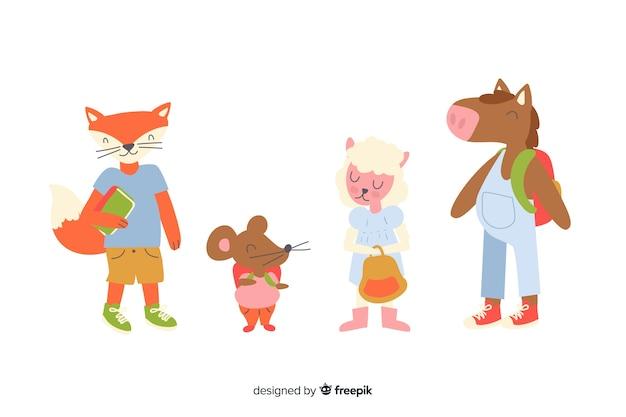 Ritorno a scuola collezione di animali disegnata a mano