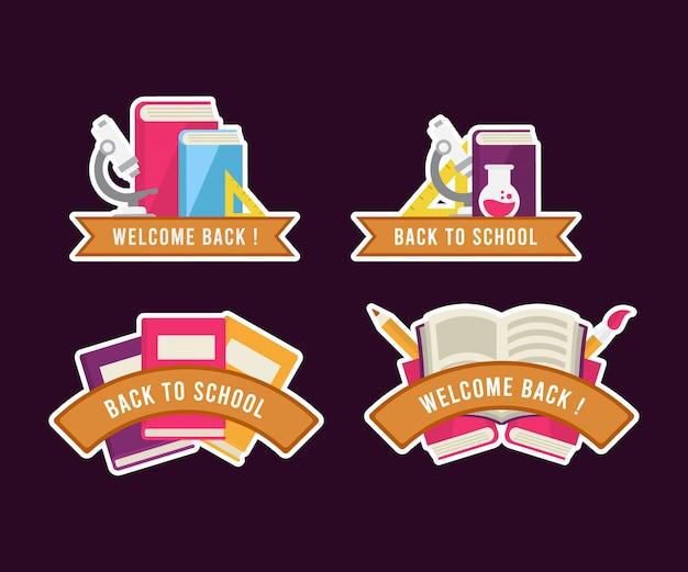 Ritorno a scuola collezione di etichette per badge con stile diverso