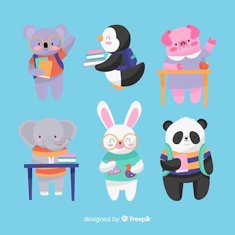 Ritorno a scuola collezione di sedute di animali