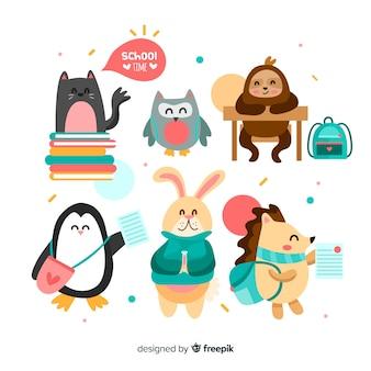 Ritorno a scuola collezione di simpatici animali