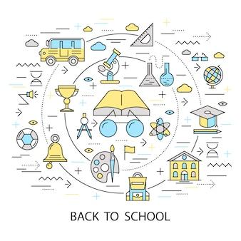 Ritorno a scuola composizione rotonda