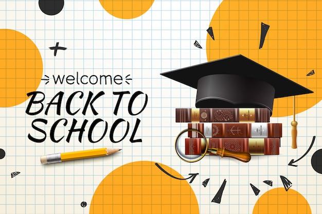 Ritorno a scuola, con cappello di laurea e libri ..