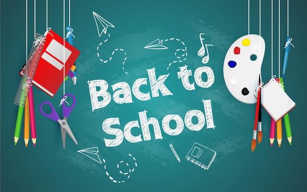 Ritorno a scuola con elementi e elementi scolastici
