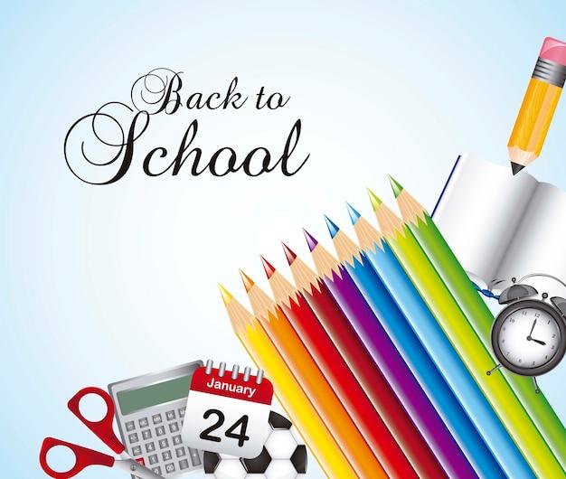 Ritorno a scuola con elementi scolastici