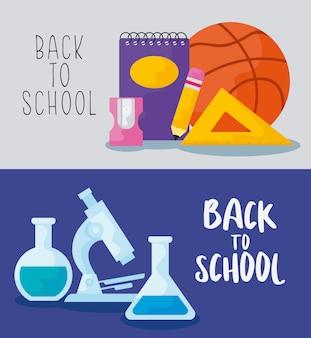 Ritorno a scuola con istruzione sui materiali di consumo
