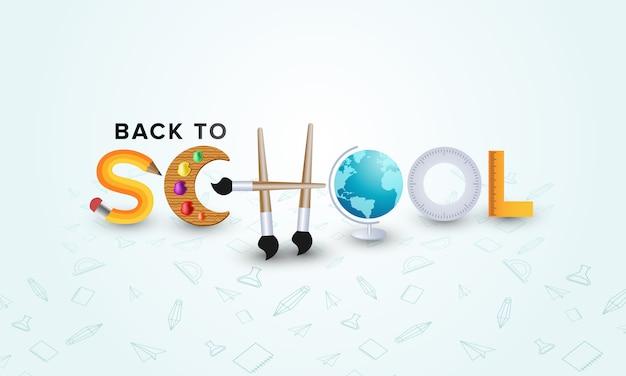 Ritorno a scuola con la lettera dell'elemento icona scuola