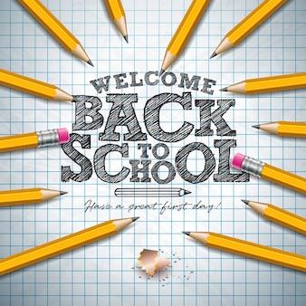 Ritorno a scuola con lettere a matita di grafite e tipografia lettera sul libretto griglia quadrata.