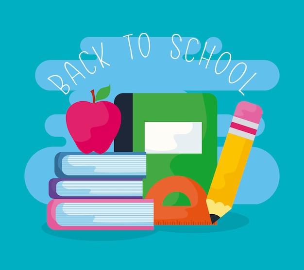Ritorno a scuola con libri e forniture scolastiche
