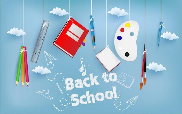 Ritorno a scuola con oggetti scolastici