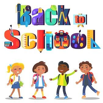 Ritorno a scuola con scritte e bambini