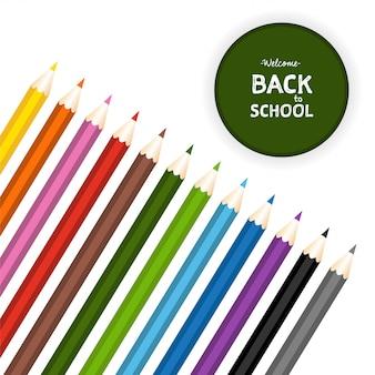 Ritorno a scuola con set di matite colorate. illustrazione vettoriale isolato