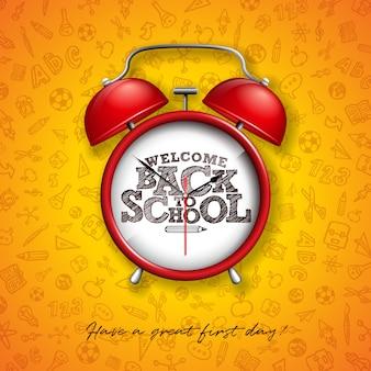 Ritorno a scuola con sveglia rossa e sfondo giallo tipografia