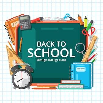 Ritorno a scuola con vari elementi