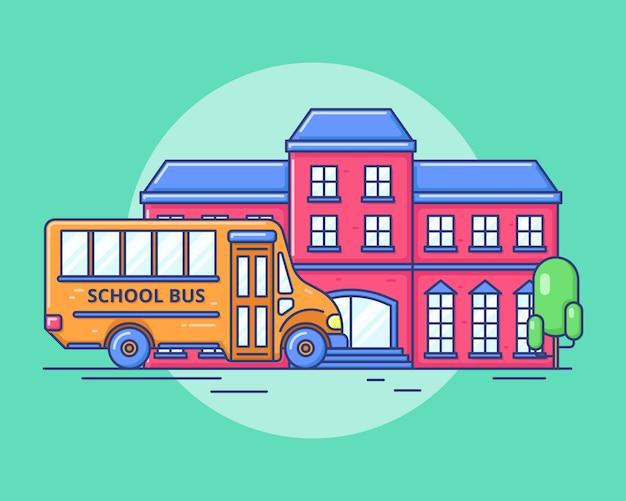 Ritorno a scuola, cute bus school e building school