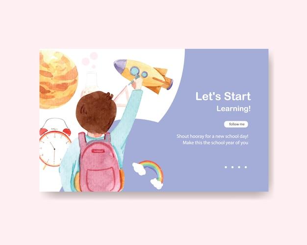 Ritorno a scuola e concetto di educazione. modello di banner web