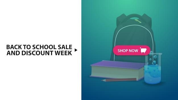 Ritorno a scuola e settimana di sconto, banner web sconto orizzontale blu