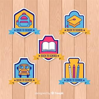 Ritorno a scuola etichette e collezione di badge