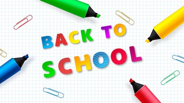 Ritorno a scuola - foglio di lavoro per quaderni con pennarelli colorati. vettore