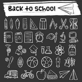 Ritorno a scuola icone di doodle