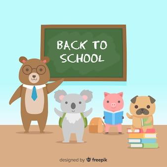Ritorno a scuola insieme degli animali