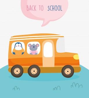 Ritorno a scuola istruzione simpatico pinguino e koala in autobus