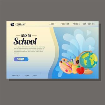 Ritorno a scuola landing page istruzione sfondo blu