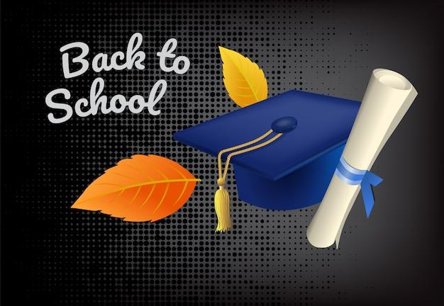 Ritorno a scuola lettering con cappello di laurea